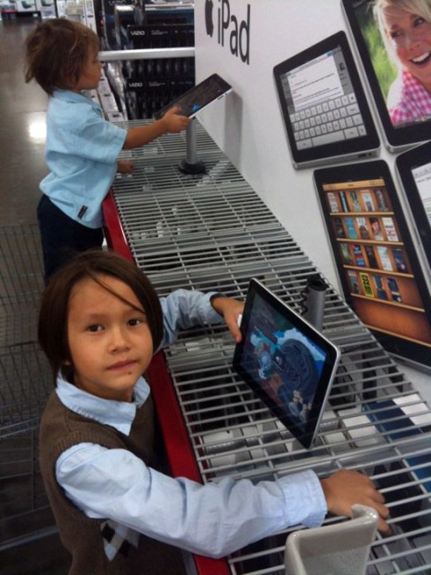 kids discover the ipad, smells expensive