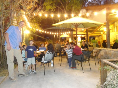 patio dining at the leaning pear wimberley