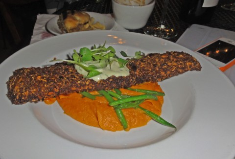 Pecan Crusted Black Drum w/ Spicy Sweet Potato Puree & Montesino Farm Haricot Verts