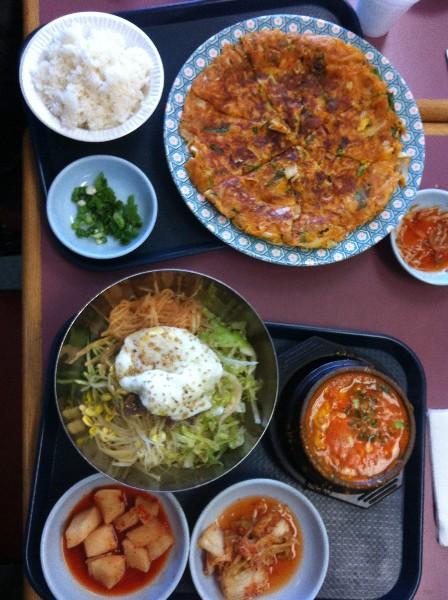 new oriental market scallion kimchi  pancake