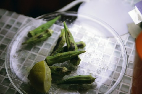 charred grilled okra