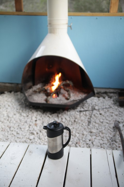 french press by the fire