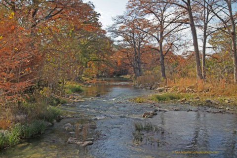 fall colors on the blanco river near wimberley and fischer texas