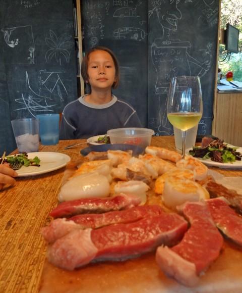 tabletop salt plate cooking steak shrimp scallops