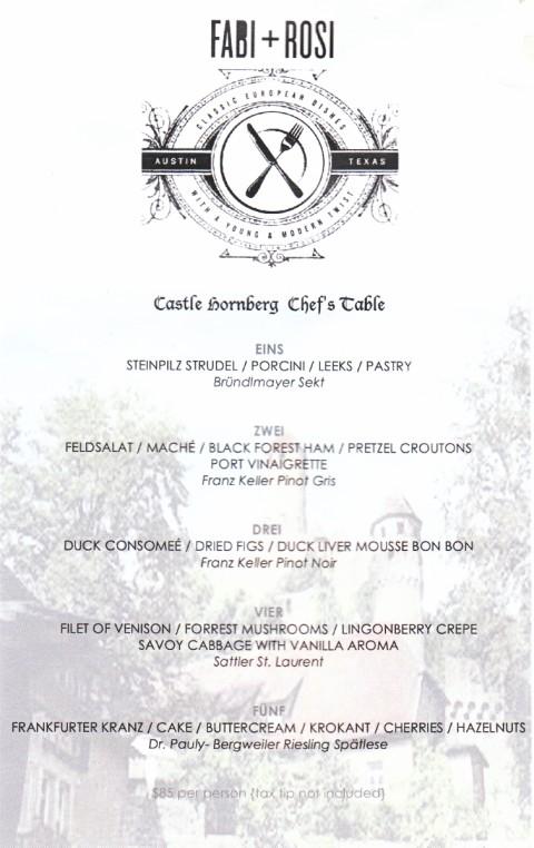 fabi+rosi castle hornberg wine dinner chef's table menu