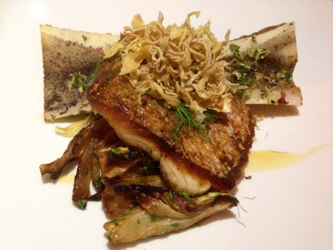 paggi house redfish with fennel four ways and bone marrow