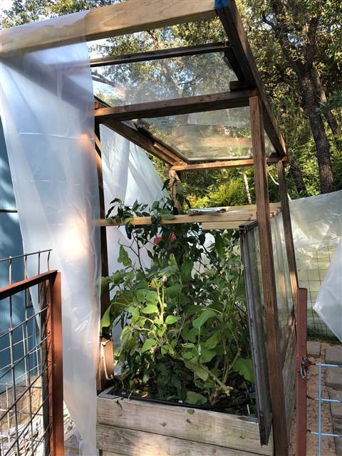 greenhouse from sliding glass door panel