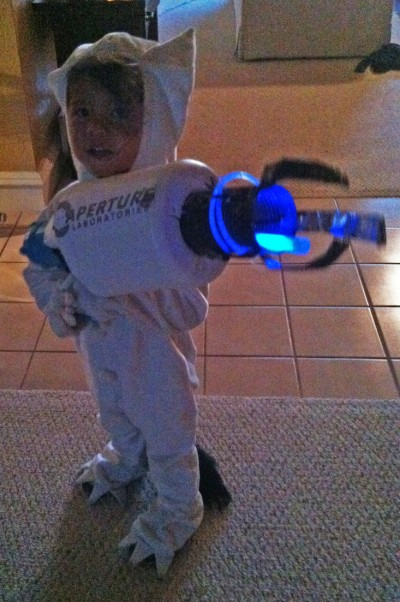 max where the wild things are with a blue portal gun