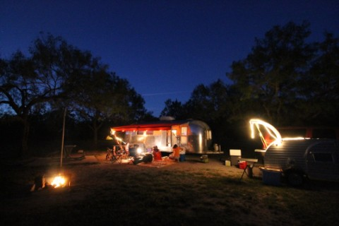 airstream and teardrop at garner state park