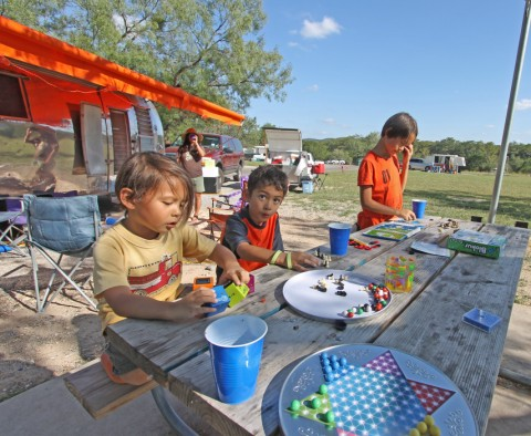 board games at the samp site garner state park 1964 airstream overlander awning zip-dee