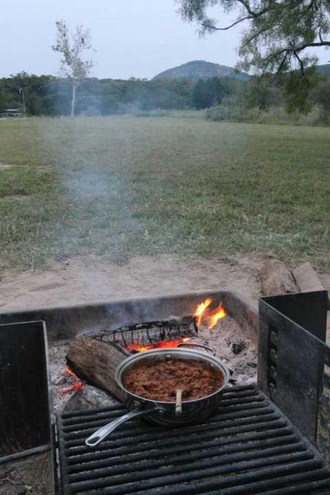 chili con carne over the fire at garner state park texas