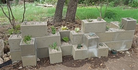 stacked block planter wall
