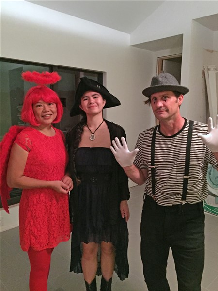 red angel girl, pirate girl, mime guy