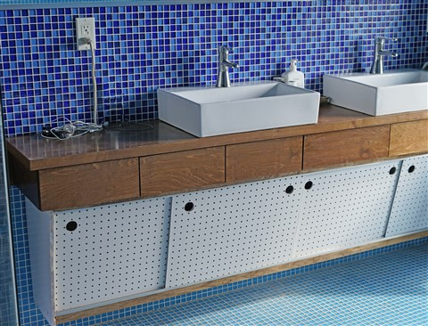 floating angled bathroom vanity