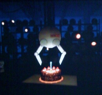 portal cake is served