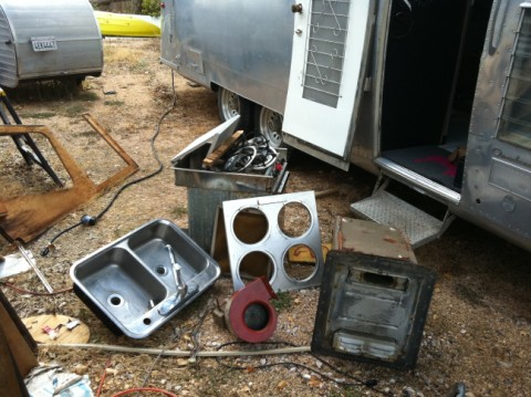 1964 airstream overlander kitchen guts
