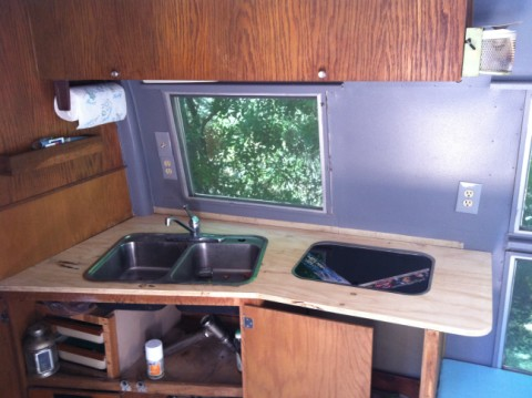 1964 overlander airstream kitchen with smev