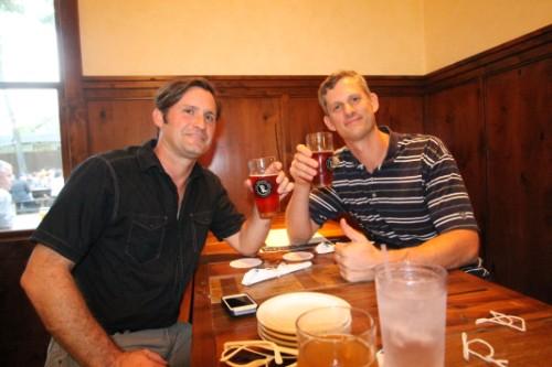 p-nut and soo-tall enjoying beer at banger's austin