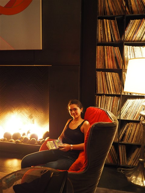 hitchihiker;s guide w hotel austin library fireplace