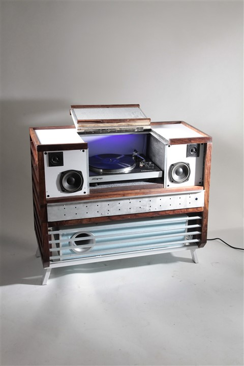 modern vintage stereo console