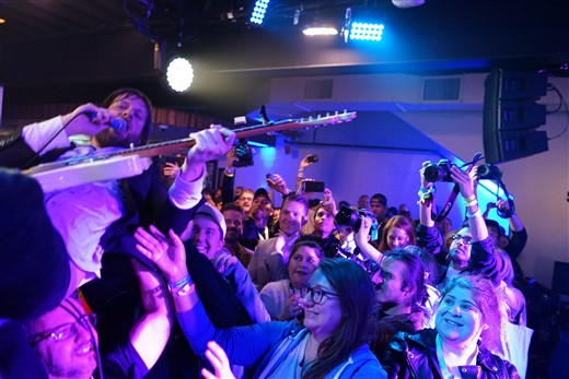 quiet company crowd surfing professional taylor muse and his fender